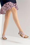 luvishoes 201 Hakiki Deri Toz Pembe Süet Kadın Sandalet