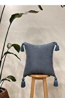 Hestia Home Kırlent Kılıfı Yastık Kılıfı Püsküllü Keten Mavi