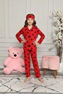 Lolliboomkids Kız Çocuk Mickey Desenli Pijama Takımı Göz Bandı Dahildir Yeni Sezon Kırmızı Renk