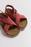 luvishoes 201 Hakiki Deri Gül Kurusu Süet Kadın Sandalet