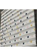 Ayze Home - Çocuk Odası - Renkli Yıldızlar Baskılı Zebra Perde