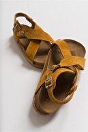luvishoes 201 Hakiki Deri Hardal Süet Kadın Sandalet