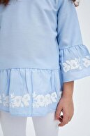 Defacto Kız Çocuk Volanlı Uzun Kol Bluz