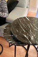 Fosil Nest Gerçek Mermer 3'lü Zigon Sehpa Takımı — Siyah Mermer, Siyah Ayak