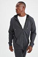 Defacto Erkek Antrasit Regular Fit Kapüşonlu Fermuarlı Sweatshirt T0092AZ21AUAR