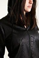 Q Active Kadın Yılan Desenli Kapüşonlu Fermuarlı Ceket