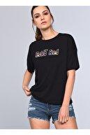 Ecko Unltd Ecko Unlimited Kadın Siyah Bisiklet Yaka T-shirt
