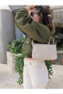 HOUSE OF MOJITO BAGS Kadın Bej Yılan Desen Baget Çanta