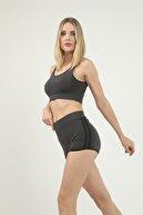 Grenj Fashion Kadın Antrasit Yanı Siyah Şerit Detaylı Mini Sporcu Şort