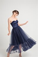 Rue Göğüs Kuplu Straplez Kabarık Organze Etekli Lacivert Elbise