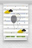 UCUZPERDEDUNYASI Brillant Bulutlar Ve Balonlar Baskılı Bebek - Çocuk Odası Zebra Perde
