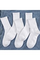 çorapkolik 4'lü Unisex Beyaz Çizgisiz Pamuklu Tenis Kolej Çorap