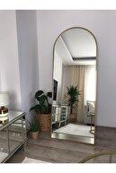 EFFE YAPI DEKOR Gold Metal Çerçeveli Oval Ayaklı Boy Aynası 180 x 70 Cm