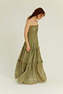 Rue Haki Askılı Volanlı Uzun Elbise