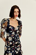 Rue Kadın Lacivert Çiçek İşlemeli Kolları Transparan Mini Elbise