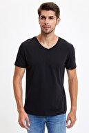 Defacto Erkek Siyah Slim Fit V Yaka Basic Siyah Tişört S3930AZ20SMBK
