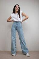 Livik Kadın Açık Mavi Kar Yıkama Yüksek Bel Bol Paça Denim Kot Pantolon