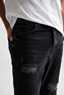 Defacto Erkek Siyah Loose Fit Normal Bel Boru Paça Siyah Jean Pantolon U5157AZ21SMNM
