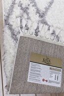 Koza Halı Marakesh Beyaz Gri Shaggy Halı 3531A