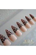 EDA LUXURY BEAUTY Nude Pembe Siyah Mat Çita French Takma Tırnak Lüks Leopar Desenli Uzun Sivri Stiletto Nail Art Set