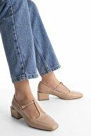 Marjin Kadın Günlük Klasik Topuklu Ayakkabı Panribej