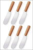 SihirliCam 6'lı Bambu Saplı Kahvaltılık Tereyağ Reçel Bıçağı,6'lı Kahvaltılık Bıçak Seti
