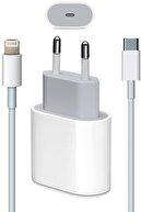 Cepsuar Iphone 11 12 Pro Uyumlu Yeni Nesil Hızlı 20 W Usb-c Şarj Adaptörü + Kablo (1m)