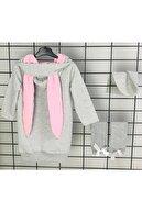Riccotarz Kız Çocuk Sweet Bunny Tavşan Kulaklı Gri Elbise