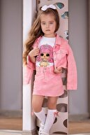 Riccotarz Kız Çocuk Pembe Kot Etekli Takım