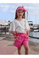 Riccotarz Kız Çocuk Pembe Renkli Püskül Detaylı Şortlu Takım