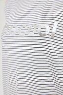 Fullamoda Kadın Beyaz Becool Baskılı Çizgili Bluz