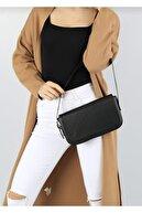 bag&more Kadın Siyah Kapaklı Baget Çanta