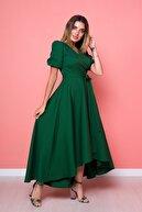 Bidoluelbise Kadın Yeşil Zümrüt Büyük Beden Asimetrik Kesim Elbise