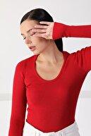 Ferraro Kadın Kırmızı Kare Yaka Uzun Kol Triko Kazak