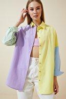 Happiness İst. Kadın Sarı Blok Renkli Oversize Poplin Gömlek