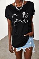 Xena Kadın Siyah Yumuşak Dokulu Esnek Örme Baskılı T-Shirt 1KZK1-11554-02