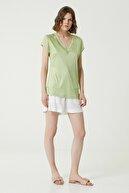 Network Kadın Slim Fit Mint V Yaka T-shirt 1078479