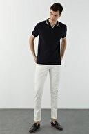 Network Erkek Slim Fit Lacivert Polo Yaka Dokulu T-shirt 1078402