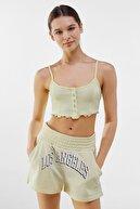 Bershka Kadın Sarı Çıtçıt Düğmeli Kenarı Kıvırcık Askılı T-shirt