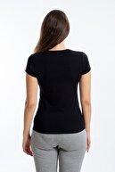 SEASOUL Kadın Siyah Bambu V Yaka T-Shirt
