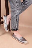 Capone Outfitters Kadın Platin Renk Düz Taban Espadril