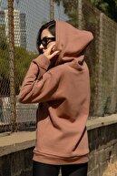 Black Sokak Kadın Kahverengi Michigan Fermuarlı Sweatshirt