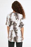 Fullamoda Kadın Antrasit Batik Desenli Fitilli Salaş Tshirt