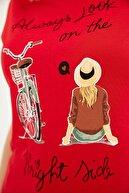 Fullamoda Bisiklet Yaka Baskılı Tişört