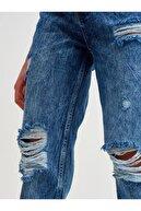 Dilvin Kadın Paçası Dikişsiz Lazerli Mom Pantolon-lacivert
