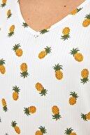 Fullamoda Ananas Baskılı Arkası Uzun Bluz