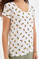 Fullamoda Kadın Beyaz Ananas Baskılı Tshirt