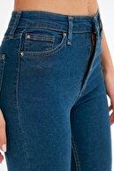 Fullamoda Kadın Mavi Yüksek Bel Dar Paça Jean
