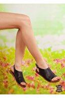 derithy -hakiki Deri Sandalet-siyah