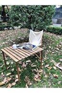 Bag The Joy Ahşap Katlanır Rulo Kamp Ve Piknik Masası Kahverengi 70 X 70 X 55